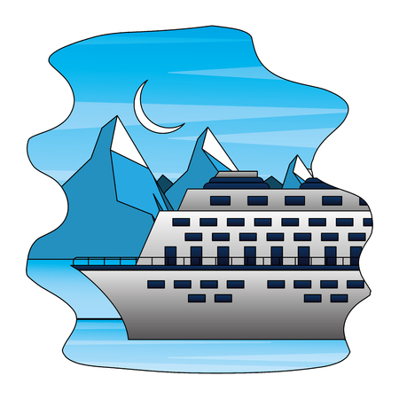 arctic cruise winter nature vacation travel vector illustration