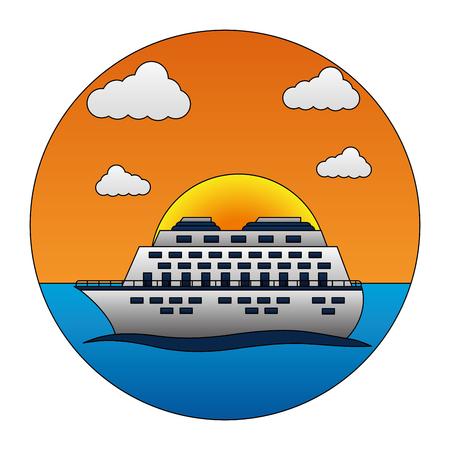 Illustrazione di vettore di vacanza tropicale dell'oceano di viaggio della nave da crociera Archivio Fotografico - 103554902