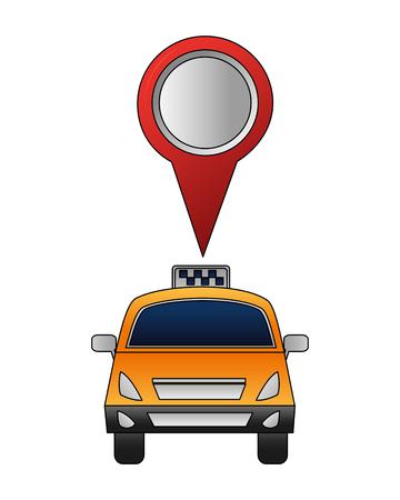 travel taxi public service pointer location vector illustration
