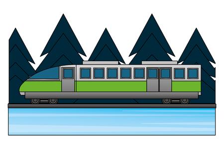 travel train vacation tourism forest landscape vector illustration