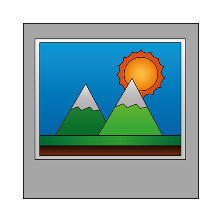 photo landscape mountains sunny day vector illustration  イラスト・ベクター素材