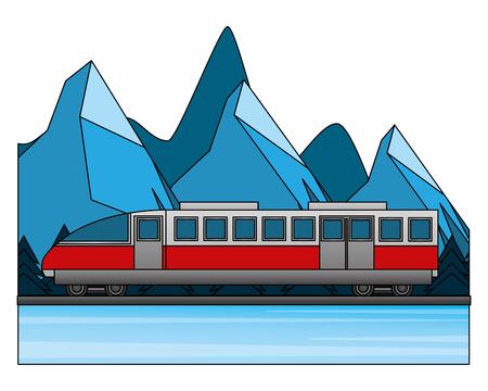 travel train tourism winter mountain scene vector illustration Stock Illustratie