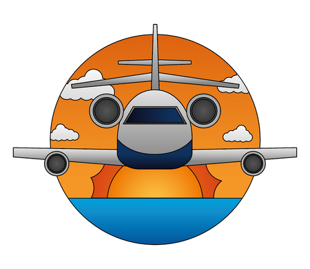 travel airplane sun front view landscape vector illustration