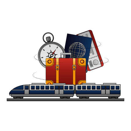 travel train suitcase passport compass ticket vector illustration Illusztráció