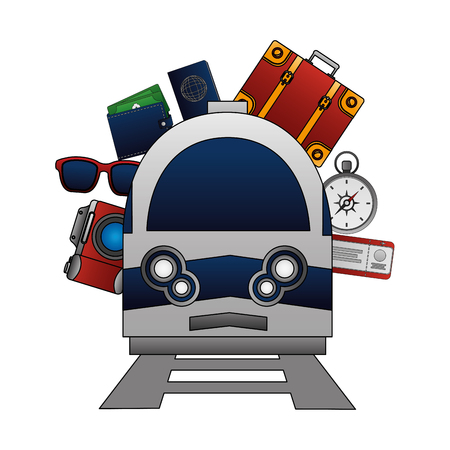 travel train camera sunglasses wallet passport bag ticket vector illustration