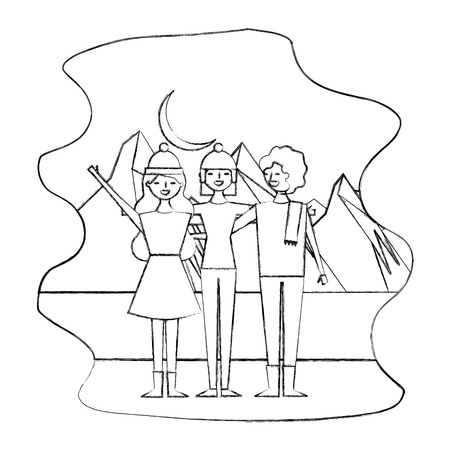 group friends travelers in mountain winter landscape vector illustration sketch