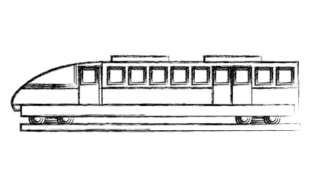 travel in train wagon transport vector illustration sketch