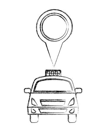 travel taxi public service pointer location vector illustration sketch Illustration