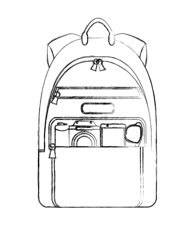 travel tourism backpack and photographic camera vector illustration sketch Иллюстрация