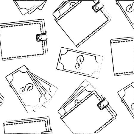 wallet banknote money cash pattern design vector illustration sketch Archivio Fotografico - 103572851