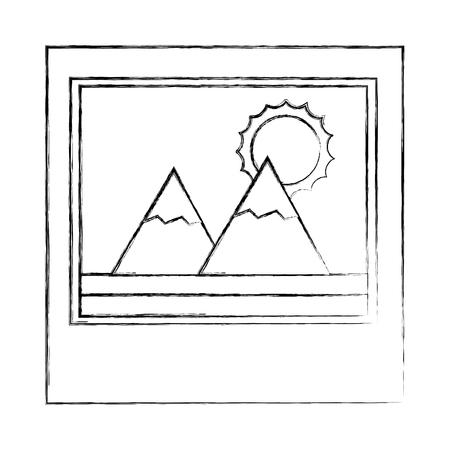 photo landscape mountains sunny day vector illustration sketch