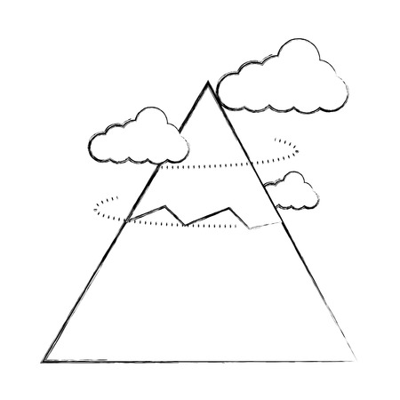 mountain snow peak clouds landscape vector illustration sketch