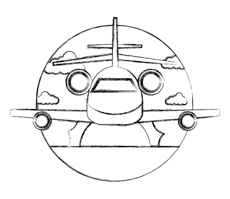 travel airplane sun front view landscape vector illustration sketch