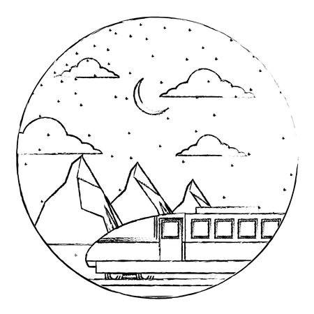 travel train winter mountains snow scene vector illustration sketch