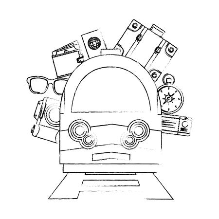 travel train camera sunglasses wallet passport bag ticket vector illustration sketch Illustration