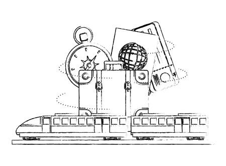travel train suitcase passport compass ticket vector illustration sketch Illustration