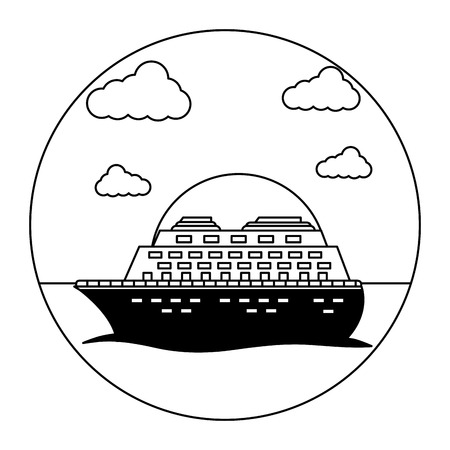 cruise ship travel ocean tropical vacation vector illustration