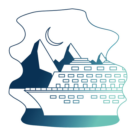 cruice ship with landscape snowly isolated icon vector illustration design