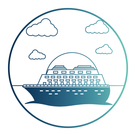 cruice ship with sea isolated icon vector illustration design