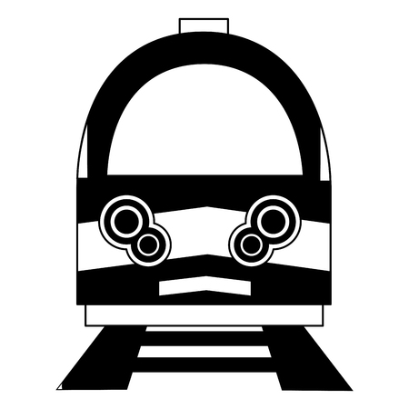 train moving on rail tracks travel front view vector illustration