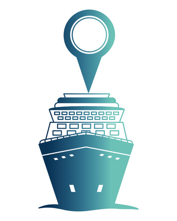 cruice ship with pin location isolated icon vector illustration design Illustration