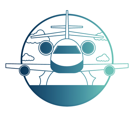 airplane flying with sea and sun isolated icon vector illustration design