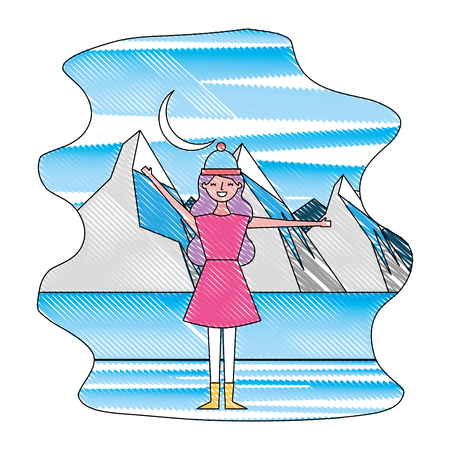 woman in the winter landscape scene vector illustration design