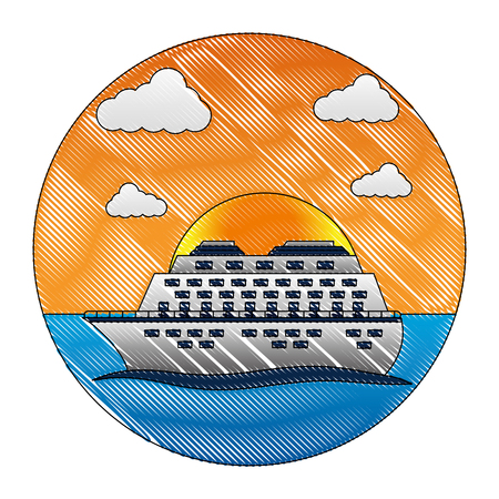 cruice ship with sea isolated icon vector illustration design