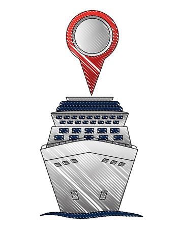 cruice ship with pin location isolated icon vector illustration design Ilustração