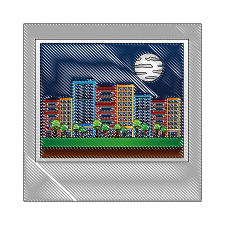 cityscape with buildings and moon isolated icon vector illustration design