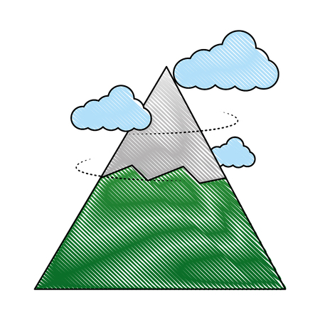 snowy mountain with cloud isolated icon vector illustration design