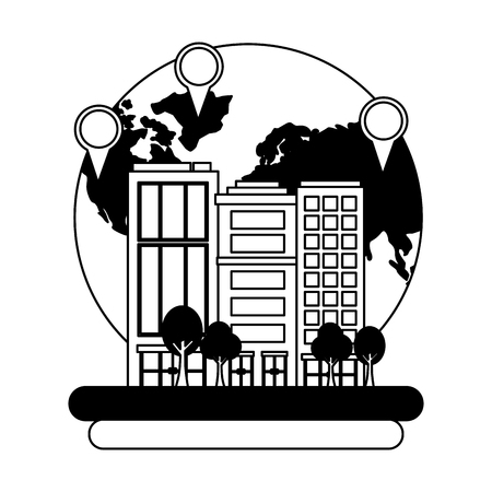 cityscape buildings with planet earth and pin location vector illustration design
