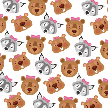 baby beaver with bear grizzly and wild pattern vector illustration design