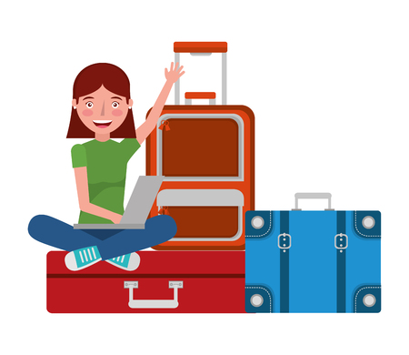 young woman wuth set suitcases travel tourism icon vector illustration design