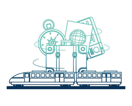 electric fast train with travel icons vector illustration design  イラスト・ベクター素材