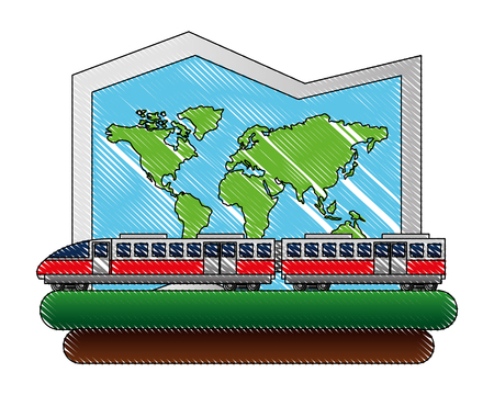 electric fast train with paper map vector illustration design Illustration