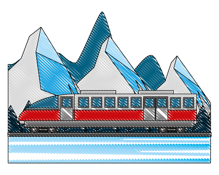 electric fast train with landscape snowly vector illustration design Illustration
