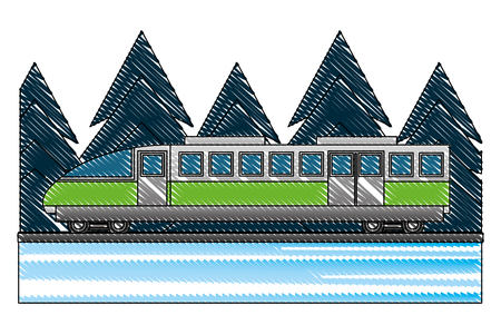electric fast train with pine trees isolated icon vector illustration design