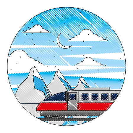 electric fast train with landscape snowly vector illustration design 일러스트