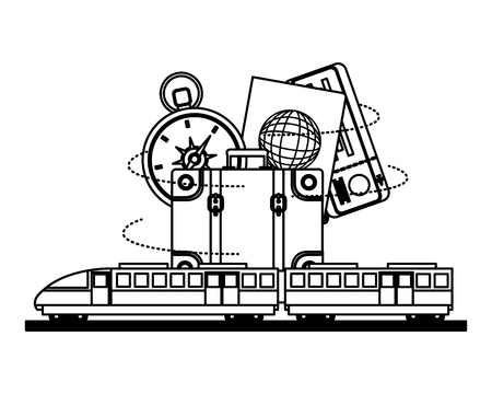 electric fast train with travel icons vector illustration design Illustration