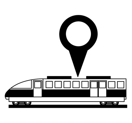 electric fast train with pin location isolated icon vector illustration design