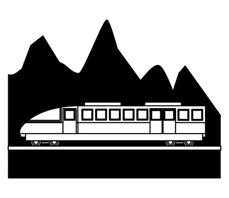 electric fast train with landscape snowly vector illustration design  イラスト・ベクター素材