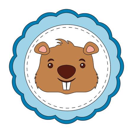 lace masculine beaver animal isolated icon vector illustration design