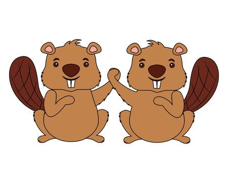 Los castores animales aislados icono diseño ilustración vectorial Ilustración de vector