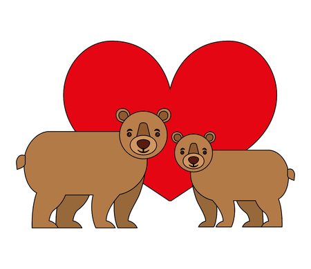 bears grizzly with heart isolated icon vector illustration design Illustration