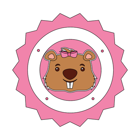 lace female beaver animal isolated icon vector illustration design