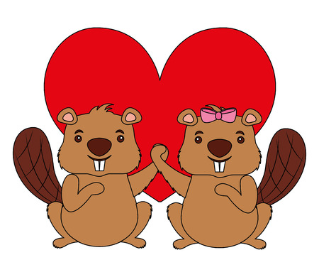 beavers animal with heart isolated icon vector illustration design Vettoriali
