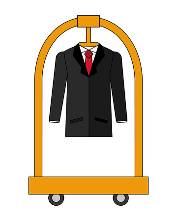 cart hotel with clothes hanging isolated icon vector illustration design Illustration