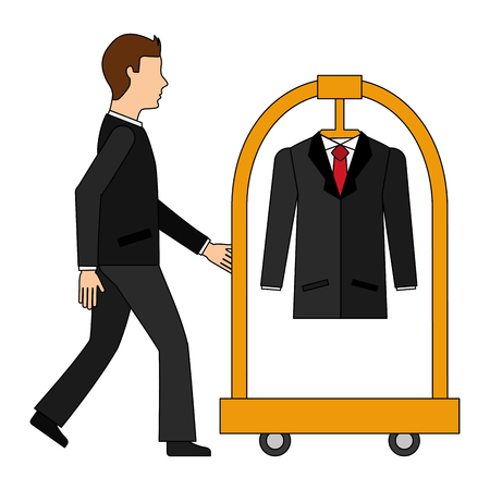 businessman with cart hotel and clothes hanging isolated icon vector illustration design