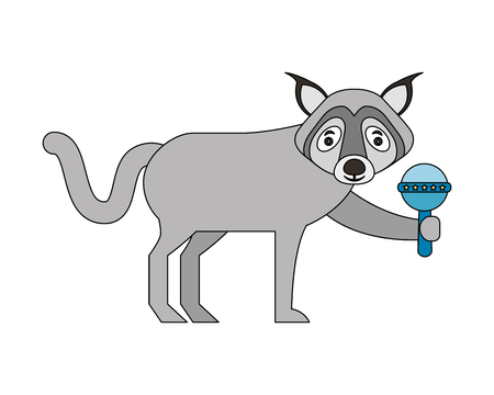 wolf animal with jingle bell isolated icon vector illustration design